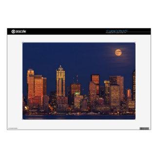 "Full moon rising over downtown Seattle skyline Skin For 15"" Laptop"