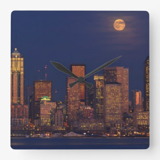Full moon rising over downtown Seattle skyline Square Wall Clock