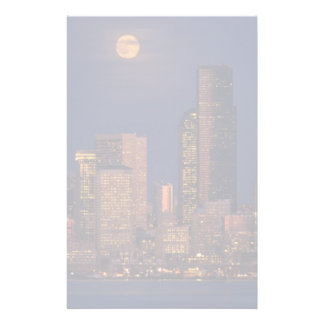 Full moon rising over downtown Seattle skyline Customized Stationery