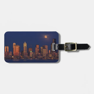 Full moon rising over downtown Seattle skyline Tag For Bags