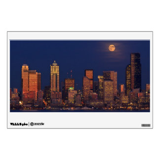 Full moon rising over downtown Seattle skyline Wall Decals