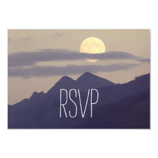 Full Moon Rising Over Mountains Wedding RSVP Cards