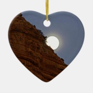 Full moon rising over Sedona Ceramic Ornament