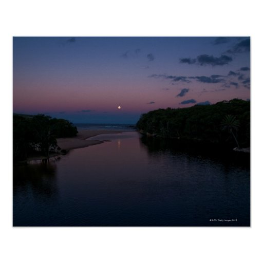 Full Moon rising over  Wattamolla Beach in the Poster