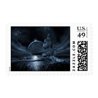 Full moon rising stamp