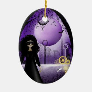 Full Moon Rising Steampunk Art Ornament