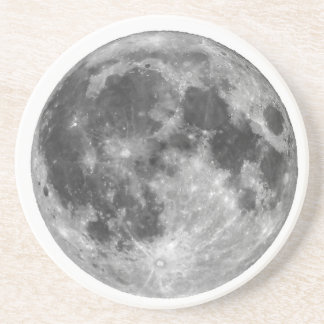 Full moon seen with telescope coaster
