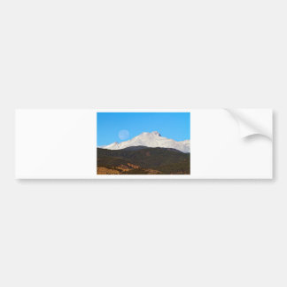 Full Moon Setting Over Snow Covered Twin Peaks Bumper Sticker