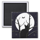 Full Moon Silhouette 2 Inch Square Magnet