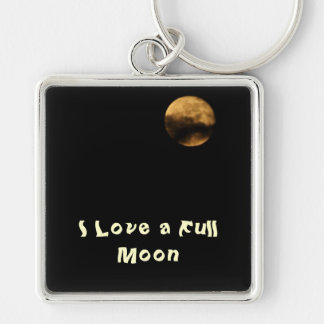Full Moon Silver-Colored Square Keychain