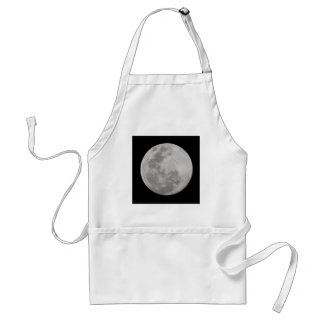 Full Moon Single on Black Adult Apron