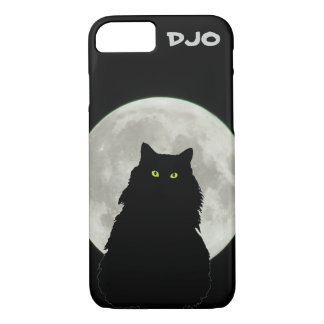 Full Moon Sitting Black Cat iPhone 8/7 Case