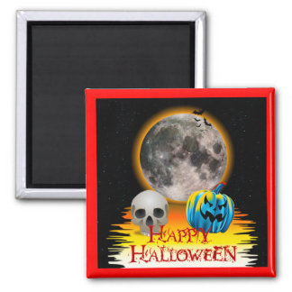 Full Moon, Skull and Blue Pumpkin at Night. 2 Inch Square Magnet