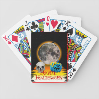 Full Moon, Skull and Blue Pumpkin at Night. Bicycle Playing Cards
