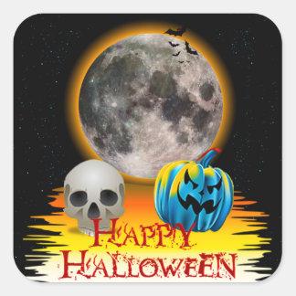 Full Moon, Skull and Blue Pumpkin at Night. Square Sticker
