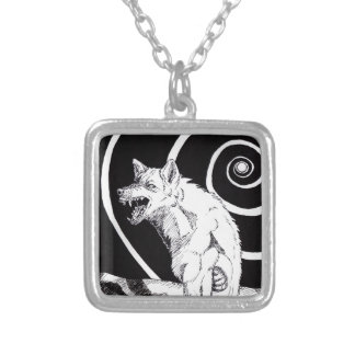 Full Moon Spiral Square Pendant Necklace