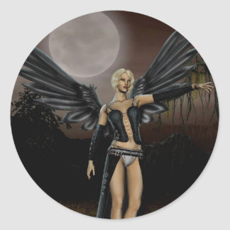 Full Moon (Stickers) Classic Round Sticker