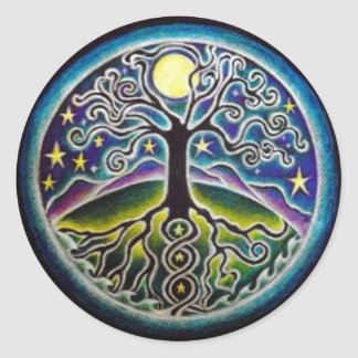 Full Moon Tree of Life Starry Night Mandala Sticke Classic Round Sticker