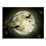 Full Moon with a Crow and Bats Postcard