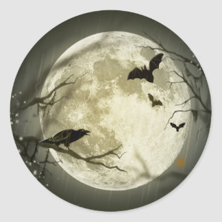 Full Moon with a Crow and Bats Classic Round Sticker