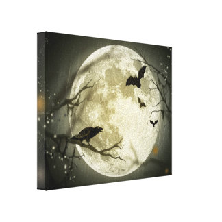 Full Moon with bats and Raven. Canvas Print