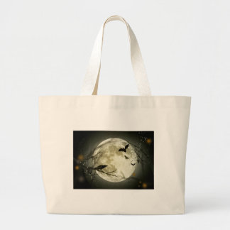 Full Moon with bats and Raven. Large Tote Bag