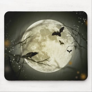 Full Moon with bats and Raven Mouse Pad