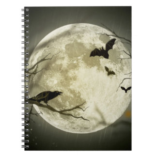Full Moon with bats and Raven Notebook