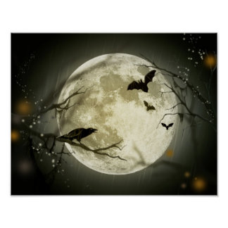 Full Moon with bats and Raven Poster