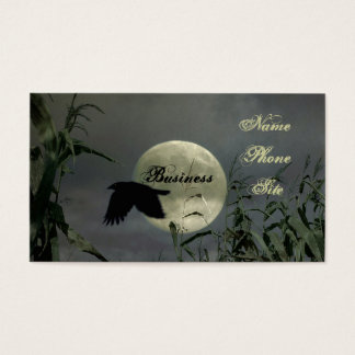 Full Moon With Crow Business Card