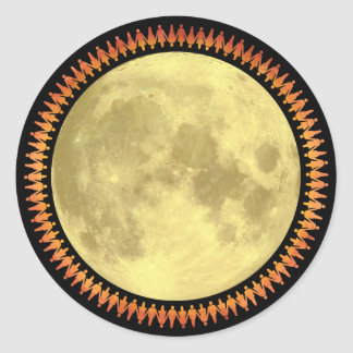 Full Moon with Lunatic Fringe Classic Round Sticker