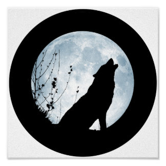 Full Moon Wolf Canvas Poster