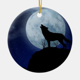 Full Moon Wolf Ceramic Ornament