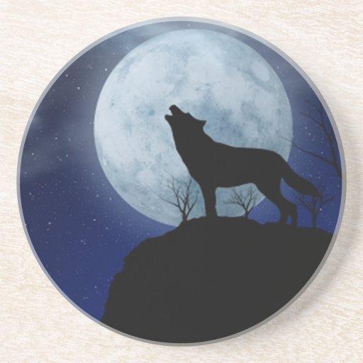 Full Moon Wolf Drink Coaster
