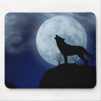 Full Moon Wolf Mouse Pad