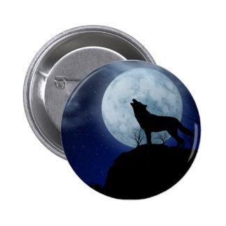 Full Moon Wolf Pinback Button