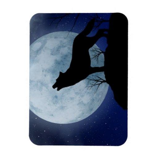 Full Moon Wolf Rectangular Photo Magnet