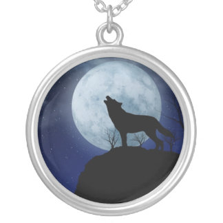 Full Moon Wolf Silver Plated Necklace