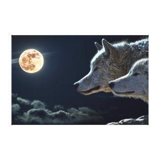 Full Moon Wolves Canvas Print