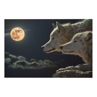 Full Moon Wolves Wood Wall Decor