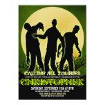 """Full Moon Zombie Birthday Party Invitations 5"""" X 7"""" Invitation Card"""
