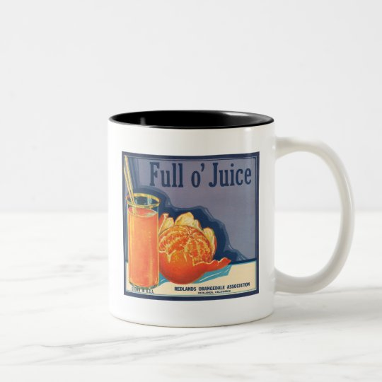 Full o' Juice Vintage Orange Growers Advertisement Two-Tone Coffee Mug