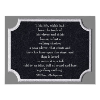 Full of sound and fury - Shakespeare quote print
