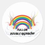 FULL-ON DOUBLE RAINBOW CLASSIC ROUND STICKER
