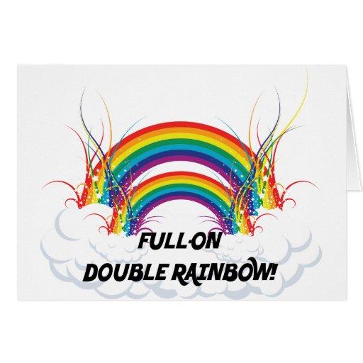 FULL-ON DOUBLE RAINBOW GREETING CARD