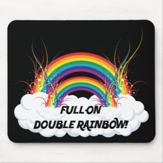 FULL-ON DOUBLE RAINBOW MOUSE PAD