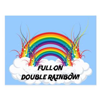 FULL-ON DOUBLE RAINBOW POST CARD