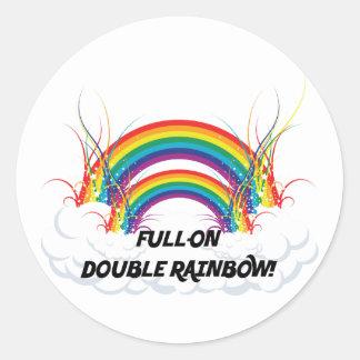 FULL-ON DOUBLE RAINBOW ROUND STICKER