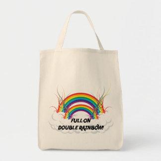 FULL-ON DOUBLE RAINBOW TOTE BAG