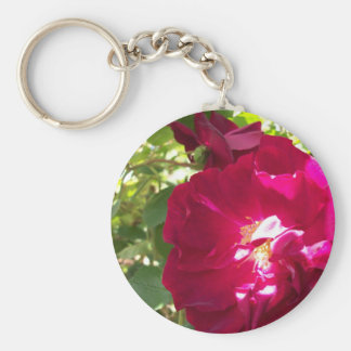 full open rose basic round button keychain